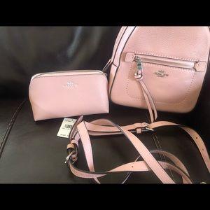 Coach cross/backpack and makeup bag
